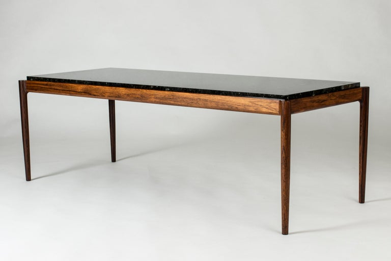 Rosewood & Marble Coffee Table by Ib Kofod-Larson for Seffle Möller, Sweden In Good Condition For Sale In Stockholm, SE