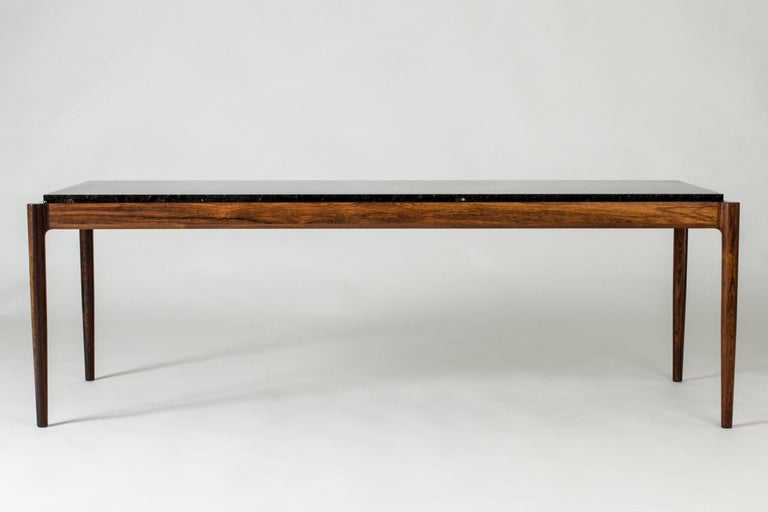 Rosewood & Marble Coffee Table by Ib Kofod-Larson for Seffle Möller, Sweden For Sale 1