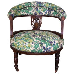 Rosewood Marquetry Inlaid Chair Upholstered in Vintage Liberty of London Fabric