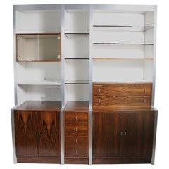 Rosewood Metal Glass and Formica Wall Unit Baugnman Attributed for John Stuart