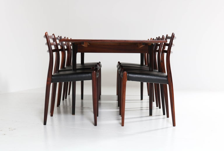 Rosewood Mid-Century Modern Dining Room Set by Niels O. Møller for J.L. Møllers In Good Condition For Sale In Amsterdam, NL