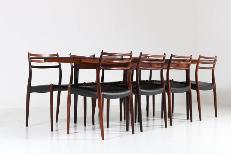 Mid-20th Century Rosewood Mid-Century Modern Dining Room Set by Niels O. Møller for J.L. Møllers For Sale