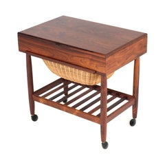 Rosewood Mid-Century Modern Sewing Trolley by Ejvind Johansson for Vitré, 1960s
