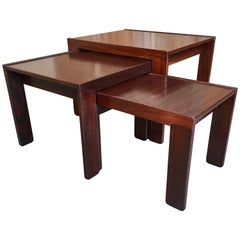 Rosewood Nesting Tables by Afra & Tobia Scarpa for Cassina, 1960s, Set of Three