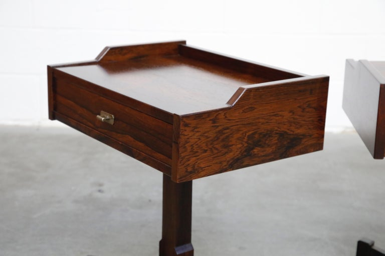 Rosewood Nightstands by Claudio Salocchi for Sormani, Italy, c 1960s For Sale 4