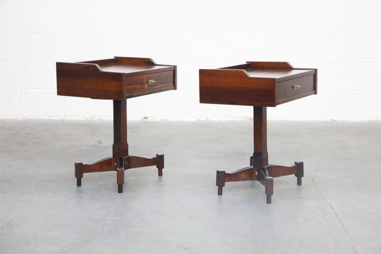This rare pair of model SC-50 nightstands by Italian designer Claudio Salocchi for Sormani was designed and produced in the 1960s in Italy in small numbers.  Featuring incredible veined Rosewood, brass pulls and feet, single drawer on each
