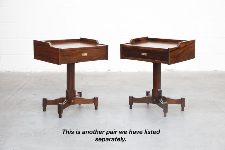Rosewood Nightstands by Claudio Salocchi for Sormani, Italy, c 1960s For Sale 13