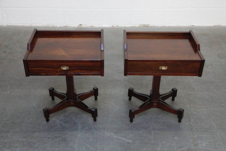 Mid-Century Modern Rosewood Nightstands by Claudio Salocchi for Sormani, Italy, c 1960s For Sale
