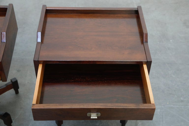 Brass Rosewood Nightstands by Claudio Salocchi for Sormani, Italy, c 1960s For Sale