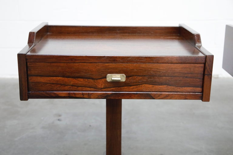 Rosewood Nightstands by Claudio Salocchi for Sormani, Italy, c 1960s For Sale 1