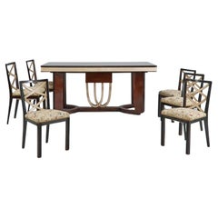 Rosewood, Parchment and Ebonized Wood Art Deco Dining Room Set, Italy, 1930s