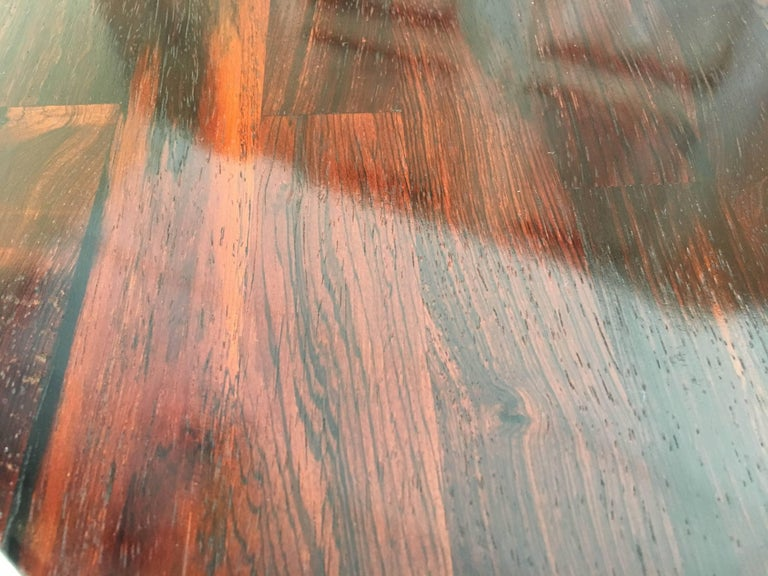 Mid-Century Modern Rosewood Parquet Top with Chrome X-Base Side Table For Sale