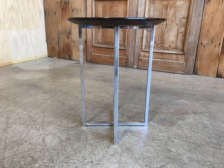 Rosewood Parquet Top with Chrome X-Base Side Table In Good Condition For Sale In Laguna Hills, CA