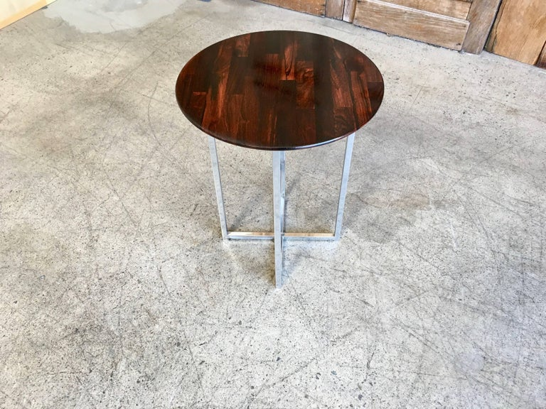 20th Century Rosewood Parquet Top with Chrome X-Base Side Table For Sale