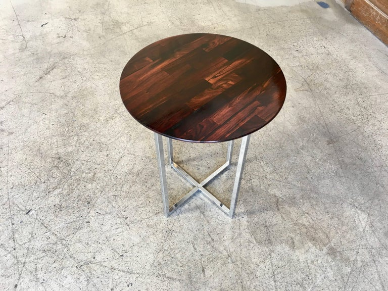 Rosewood Parquet Top with Chrome X-Base Side Table For Sale 2