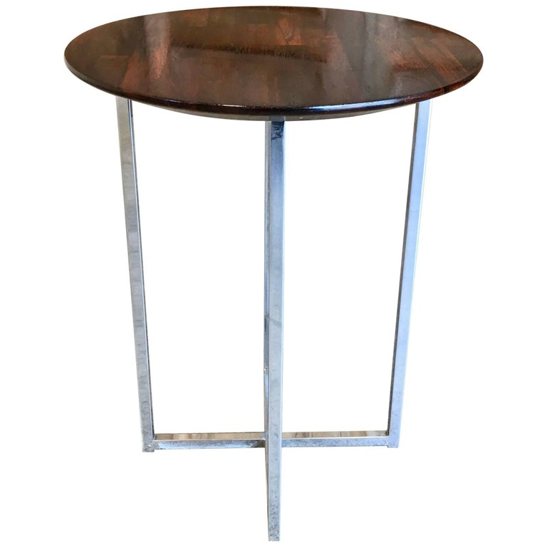 Rosewood Parquet Top with Chrome X-Base Side Table For Sale