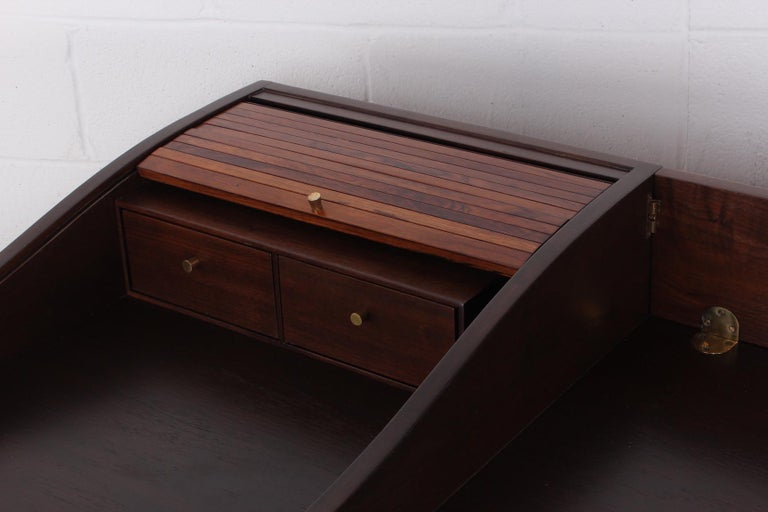 Rosewood Roll Top Desk by Edward Wormley for Dunbar For Sale 6