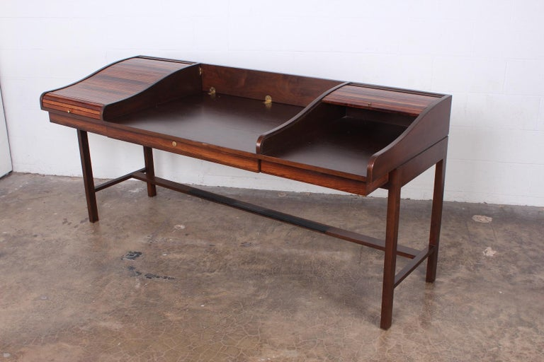 Rosewood Roll Top Desk by Edward Wormley for Dunbar For Sale 7