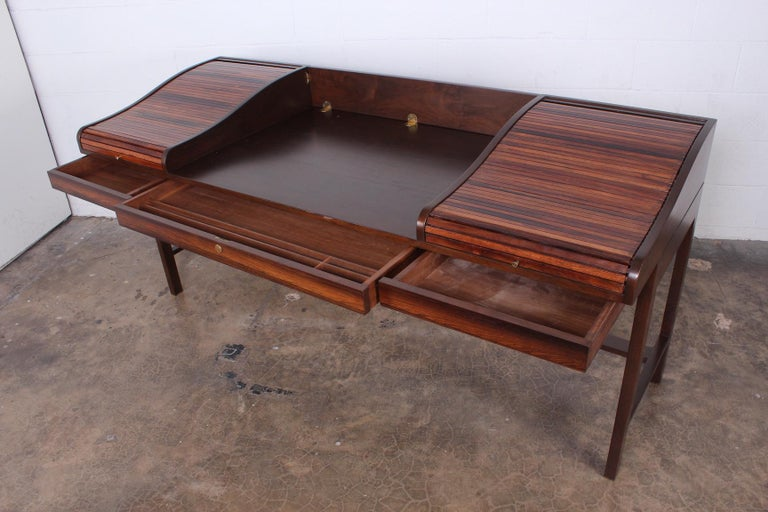 Rosewood Roll Top Desk by Edward Wormley for Dunbar For Sale 8