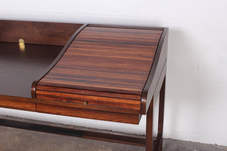 Mid-20th Century Rosewood Roll Top Desk by Edward Wormley for Dunbar For Sale