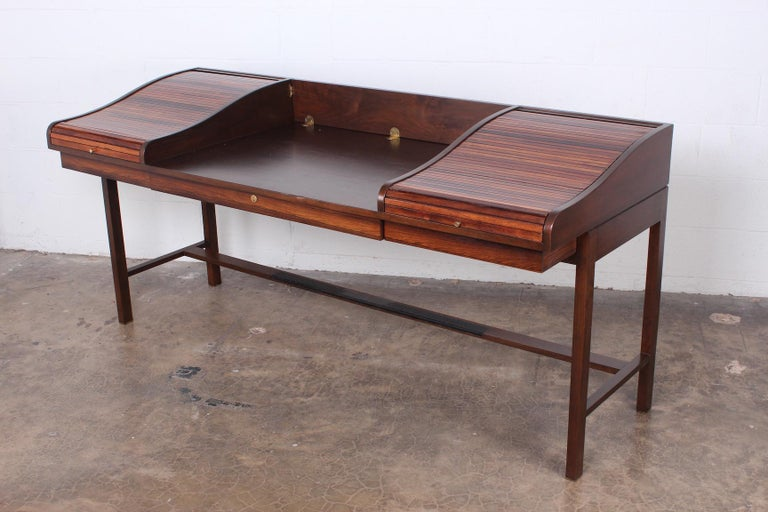 Rosewood Roll Top Desk by Edward Wormley for Dunbar For Sale 1