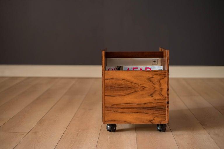 Scandinavian Modern Rosewood Rolling Record Magazine Rack by Rolf Hesland for Bruksbo For Sale