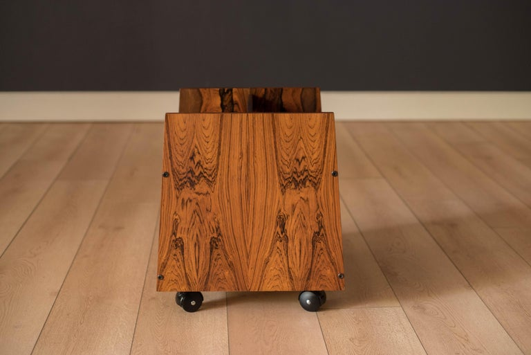 Late 20th Century Rosewood Rolling Record Magazine Rack by Rolf Hesland for Bruksbo For Sale