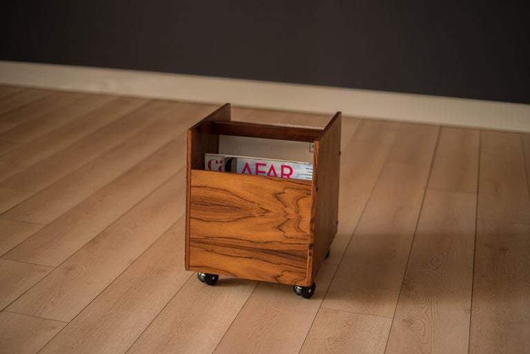 Rosewood Rolling Record Magazine Rack by Rolf Hesland for Bruksbo For Sale 1