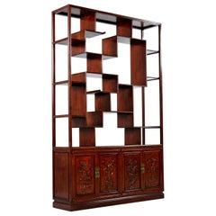 Rosewood Room Divider Cabinet Bookshelf, Asian Modern