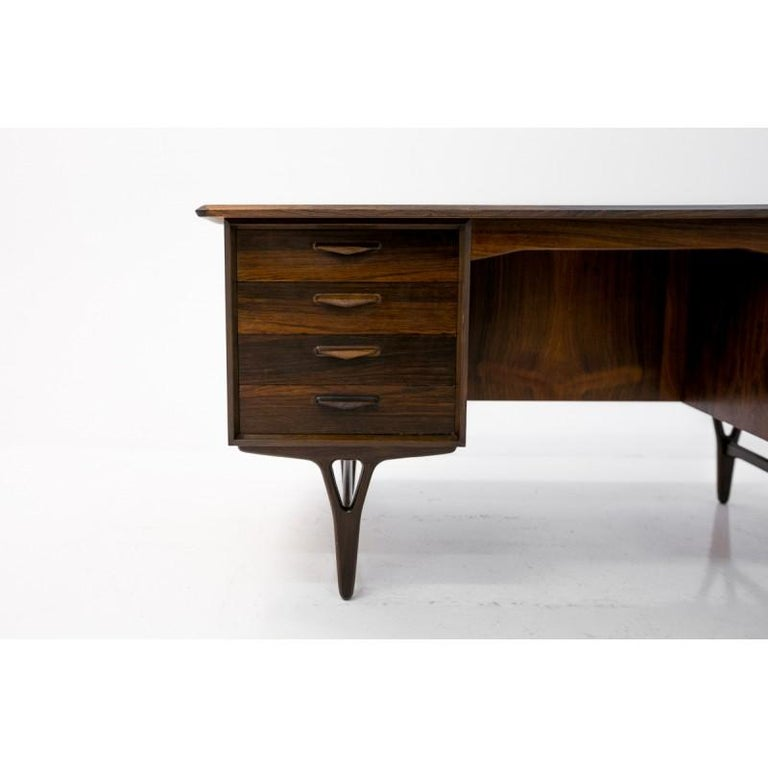 Unique dark rosewood desk / writing table in Danish design.