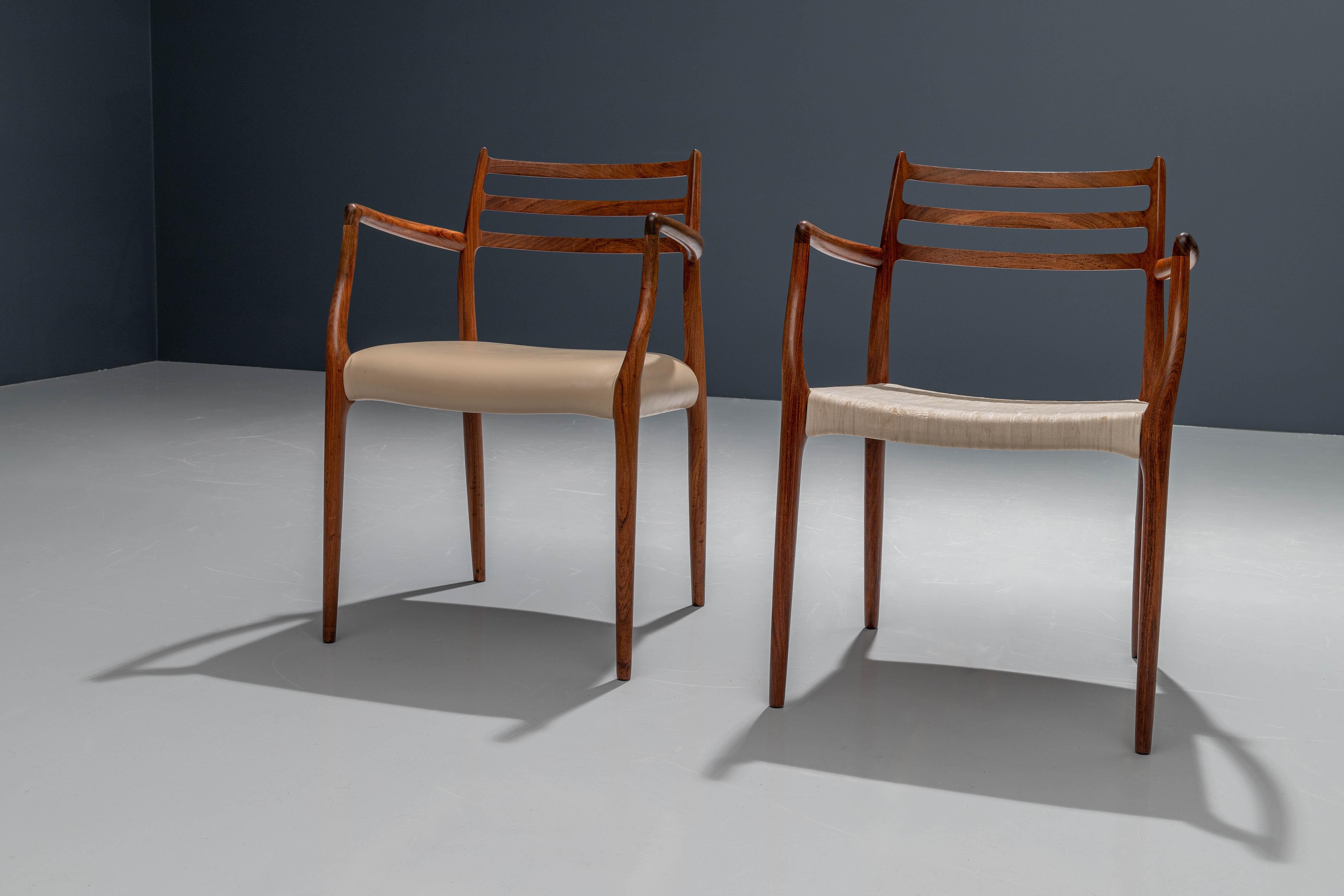 Rosewood Set of 2 Niels Otto Møller Armchairs No 62, Denmark, 1960's