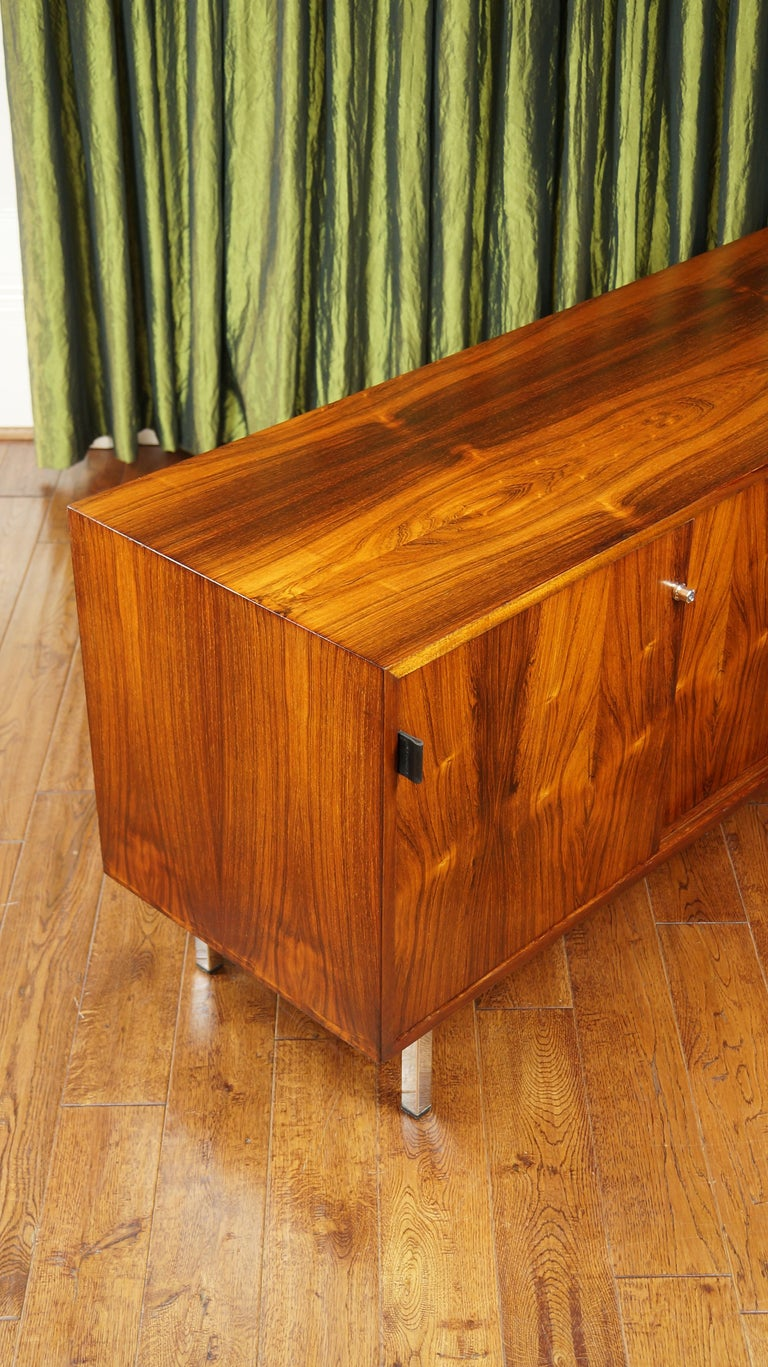Rosewood Sideboard Credenza Florence Knoll, Leather Handles, 1950s Vintage MCM at 1stdibs