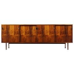 Rosewood Sideboard Credenza Florence Knoll, Leather Handles, 1950s Vintage MCM