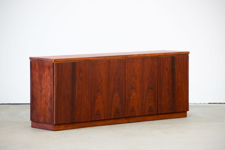 Veneer Rosewood Sideboard Minimal Design, Denmark, 1960s For Sale