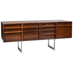 Rosewood Sideboard on Chromed Feet, Bodil Kjaer, E. Pedersen & Sons 'Denmark'