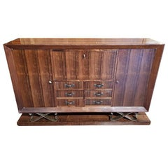 Rosewood Sideboard with Metal Details, Designed by Eugéne Printz, France, 1930