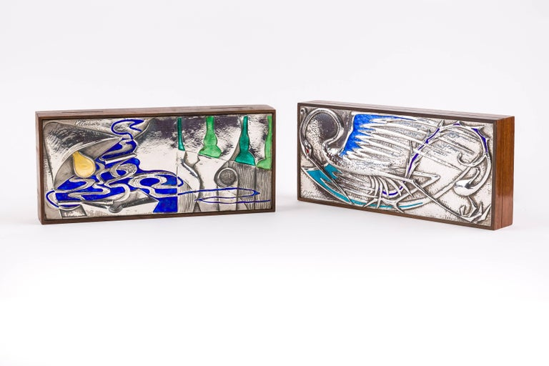 Rosewood, Silver and Enamel Box by Silversmith Ottaviani In Good Condition For Sale In Brussels, BE