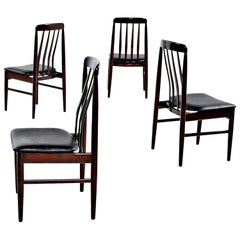 Rosewood Slat Back Dining Chairs with New Vinyl Seats, Danish Modern, 1960s