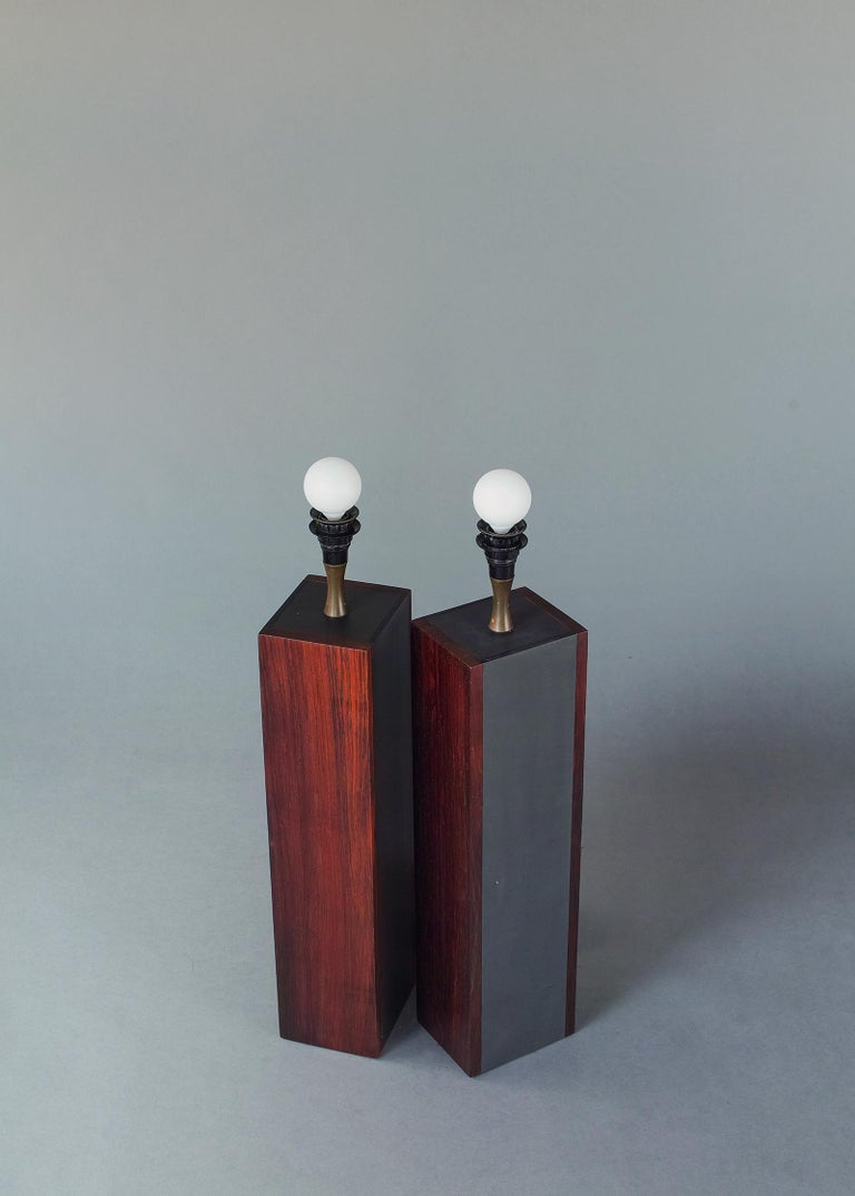 Rosewood and Slate Lamps by Harpswell House For Sale 5