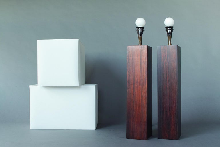 Rosewood and Slate Lamps by Harpswell House For Sale 7