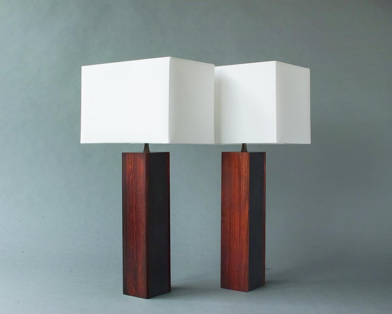 Rosewood and Slate Lamps by Harpswell House For Sale 8