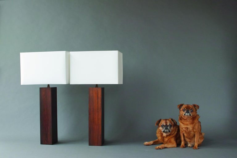 Mid-Century Modern Rosewood and Slate Lamps by Harpswell House For Sale