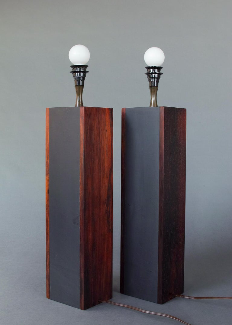 American Rosewood and Slate Lamps by Harpswell House For Sale