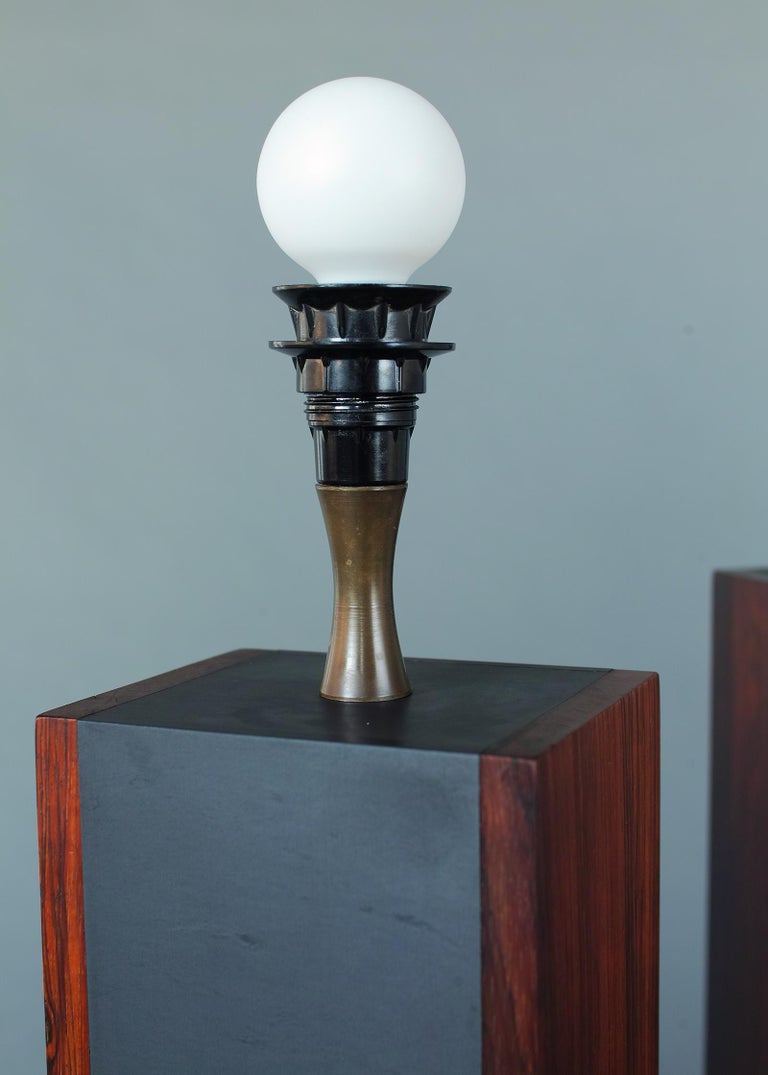 Rosewood and Slate Lamps by Harpswell House In Good Condition For Sale In Brooklyn, NY