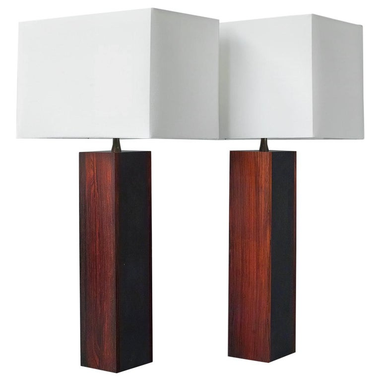 Rosewood and Slate Lamps by Harpswell House For Sale