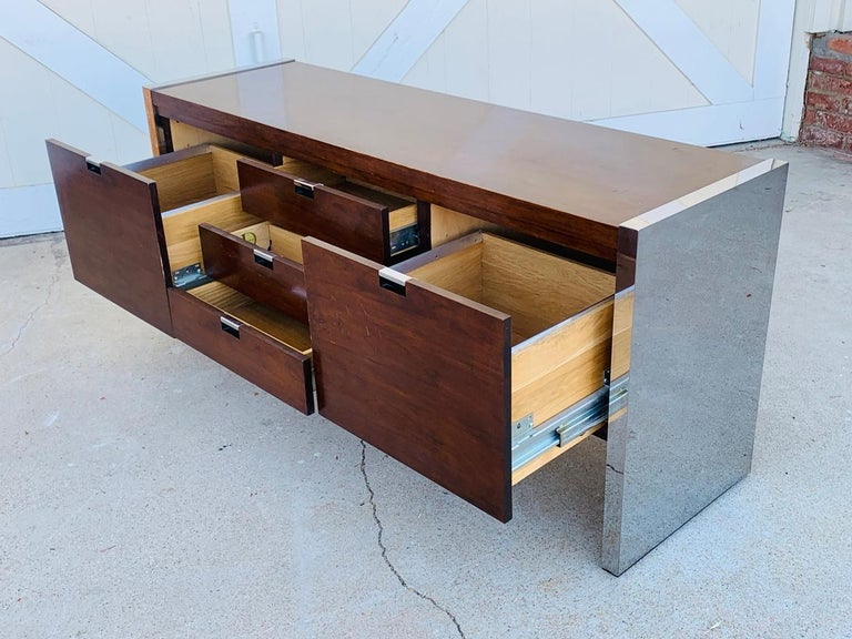 Rosewood & Stainless Credenza by Roger Sprunger/Dunbar For Sale 3