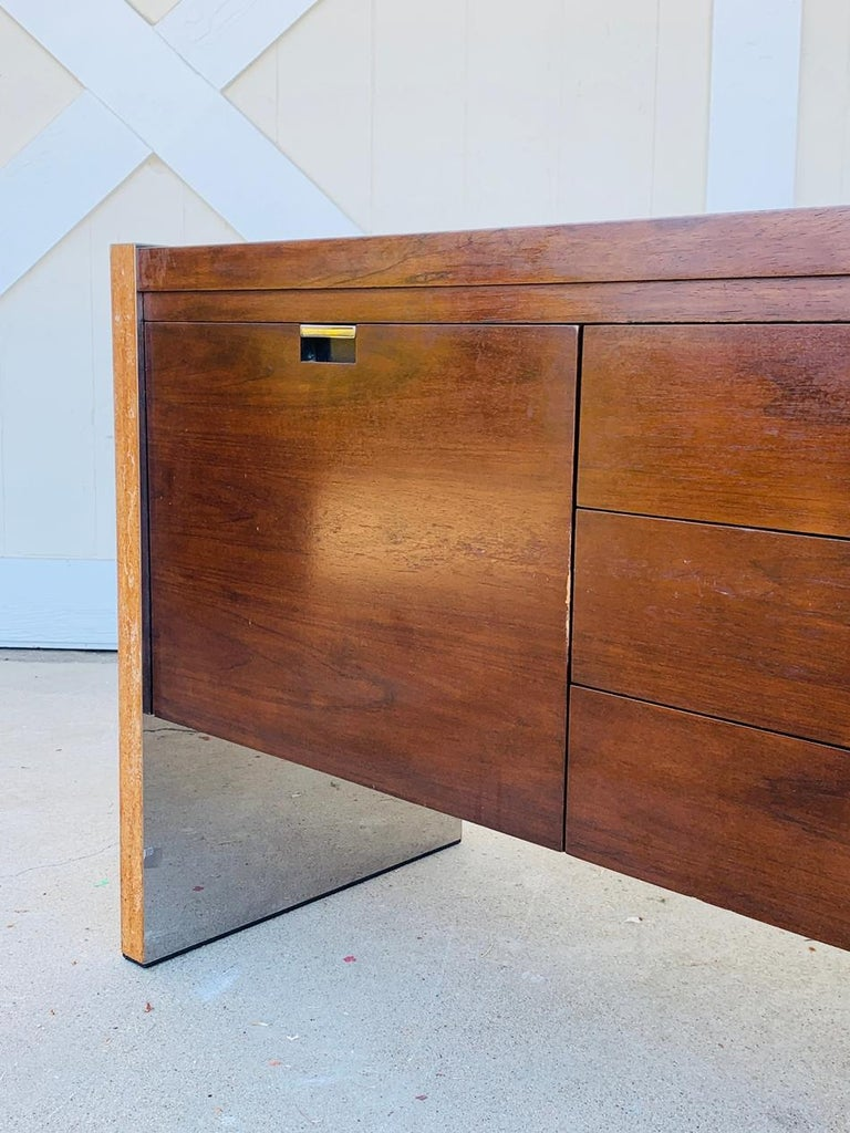 Rosewood & Stainless Credenza by Roger Sprunger/Dunbar For Sale 4