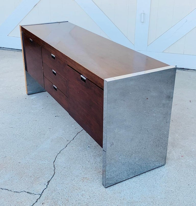 Rosewood & Stainless Credenza by Roger Sprunger/Dunbar In Fair Condition For Sale In Los Angeles, CA