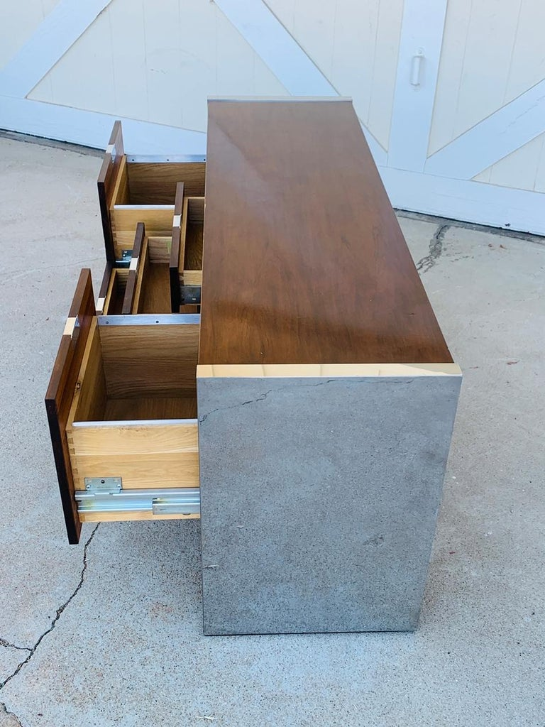 Late 20th Century Rosewood & Stainless Credenza by Roger Sprunger/Dunbar For Sale