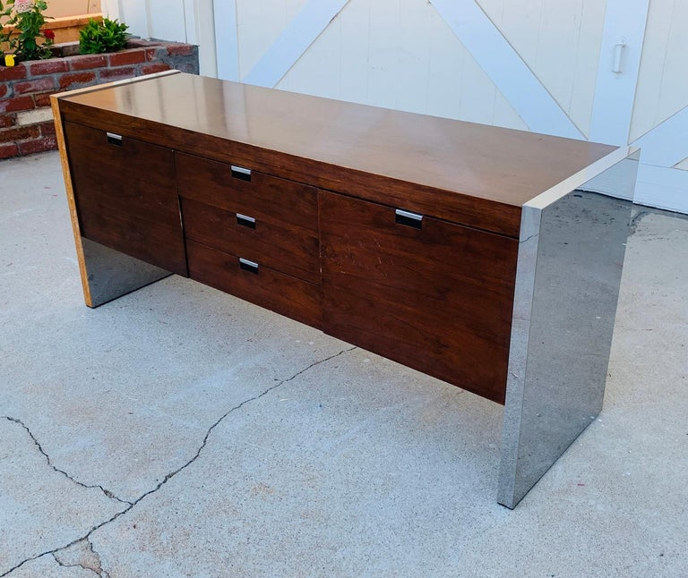 Stainless Steel Rosewood & Stainless Credenza by Roger Sprunger/Dunbar For Sale